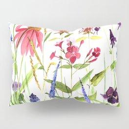 Botanical Colorful Flower Wildflower Watercolor Illustration Pillow Sham