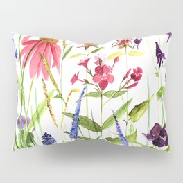 Botanical Colorful Flower Wildflower Watercolor Illustration Pillow Sham