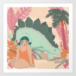 Cute Girl and Stegosaurus Art Print