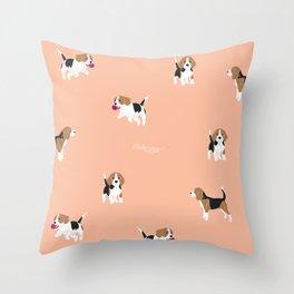 Salmon Pink Beagle Throw Pillow