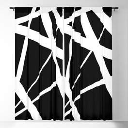 Geometric Line Abstract - Black White Blackout Curtain
