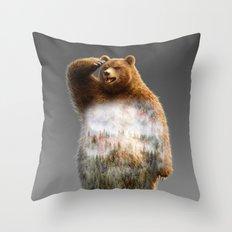 Chill Bear Throw Pillow