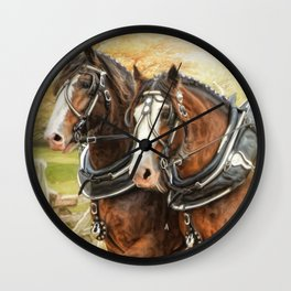 Clydesdales In Harness Wall Clock