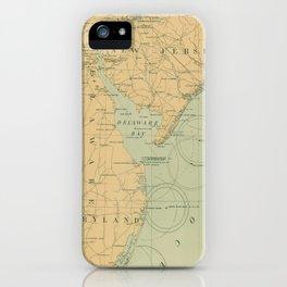 Vintage NJ, MD & Delaware Bay Lighthouse Map (1897) iPhone Case