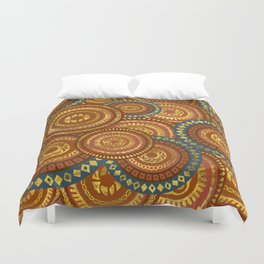 Circular Ethnic  pattern pastel gold and brown, teal Duvet Cover