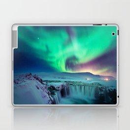 Aurora Borealis Over A Waterfall Laptop & iPad Skin