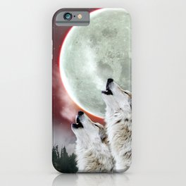 Wolves Howling Moon Eclipse Wolf Art iPhone Case