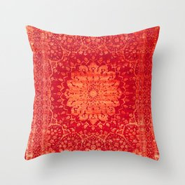 N69 - Oriental Heritage Vintage Orange Traditional Moroccan Farmhouse Style Artwork Throw Pillow