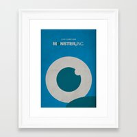 monster inc Framed Art Prints featuring Monster, Inc. - Blue (Vintage) by Lemontrend Studio