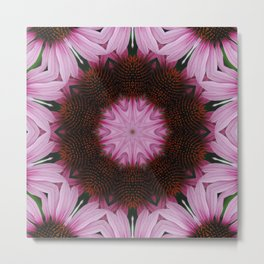 Pink Cone Flower Abstract Tile 78 Metal Print
