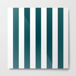 Midnight green (eagle green) - solid color - white vertical lines pattern Metal Print