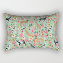 Great Dane floral dog breed pet friendly pet pattern great danes pure breed Rectangular Pillow