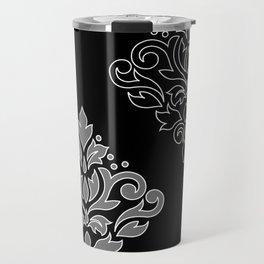 Scroll Damask Art I Wt Line Gray Blk Travel Mug