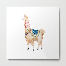 Watercolor llama Metal Print