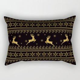 Christmas Golden pattern on black background stripe Rectangular Pillow
