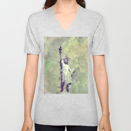 Textured Statue of Liberty Unisex V-Neck