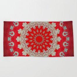 Bright Red Mandala Beach Towel