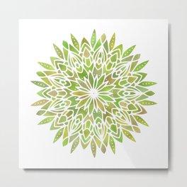 Mandala Desert Cactus Green Metal Print