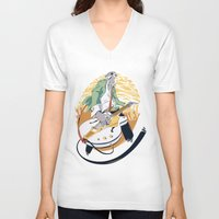 falcon V-neck T-shirts featuring White Falcon by Oxana-Milka