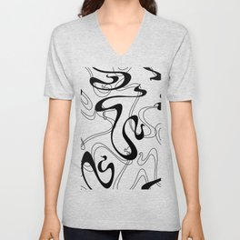 Abstract Black and White Ribbon Swirl Unisex V-Neck