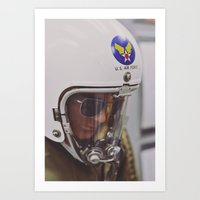 top gun Art Prints featuring Top Gun Test Pilot. by Pamela Steiner