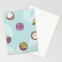 Mangosteen I on blue background Stationery Cards