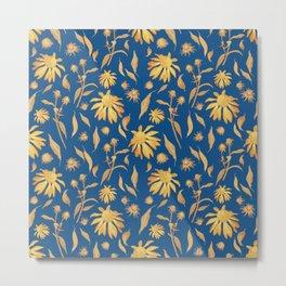 Elegant Gold Mustard Yellow Echinacea Cone Flowers on Classic Blue Metal Print