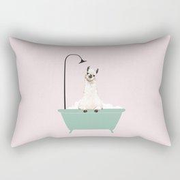 Llama Enjoying Bubble Bath Rectangular Pillow