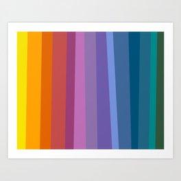 Modern Bright Rainbow Abstract Stripes Art Print