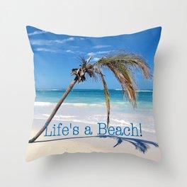 Landscape | Palm and Beach | Life's a Beach! | Nadia Bonello Throw Pillow