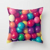 gumball Throw Pillows featuring Gumball Fun by Amelia Kay Photography