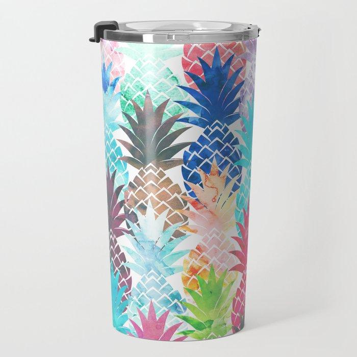 Hawaiian Pineapple Pattern Tropical Watercolor Travel Mug