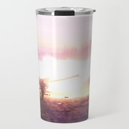 Battle scene with Artillery guns. Travel Mug