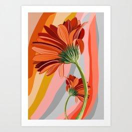 Flower petals stripes and bright Gerbera Art Print