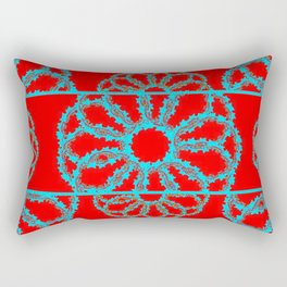 Turquoise & Red Overlapping Scalloped Links & Rings Rectangular Pillow