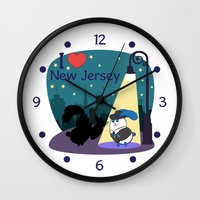 coraline Wall Clocks featuring Ernest and Coraline | I love New Jersey by Hisame Artwork