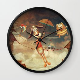 Dog with an umbrella, a small fish and a cat in sky. Wall Clock