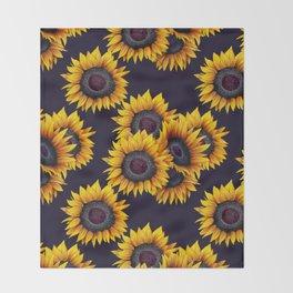 Sunflowers yellow navy blue elegant colorful pattern Throw Blanket