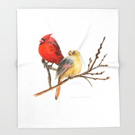 The Perfect Pair - Male and Female Cardinal by Teresa Thompson Throw Blanket