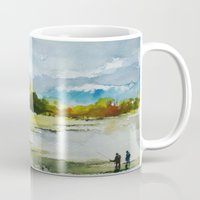 fishing Mugs featuring Fishing by Baris erdem
