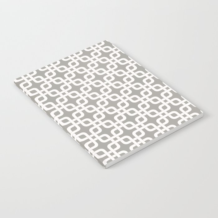 Mid-Century Modern Geometric Pattern, rounded corner squares interlocking Notebook