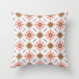 Gold Buttons Pink and White Pattern Throw Pillow