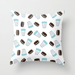 Oreo and milk pattern Throw Pillow