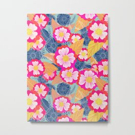 Floating flowers in pink and blue Metal Print