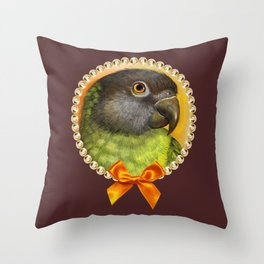 Senegal parrot realistic painting Throw Pillow