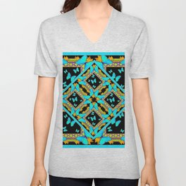Decorative Western Style Turquoise Butterflies  Black Gold Patterns Unisex V-Neck