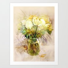 Roses and lilies Art Print