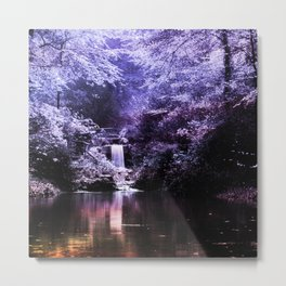 evening pond ethereal aesthetic lavender landscape art altered photography Metal Print