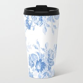 Modern navy blue white watercolor elegant floral Travel Mug