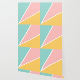 Tropical summer pastel pink turquoise yellow color block geometric pattern Wallpaper